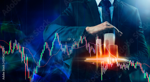 Leinwand Poster Business stock exchange market candlestick graph chart,investor trader financial investment