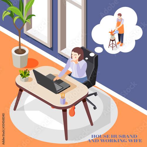 Fototapeta Working Wife Background obraz