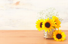 Top View Image Of Sunflowers O...