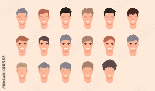 Set Of Hairstyle Man Hair Style Set For Barber And Hair Cut Logo And Men Portrait Modern Fashion Long Hair Short Hair Curly Hair Salon Hairstyles Vector Hairstyle Silhouette Vector Icon Stock