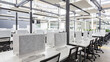 Close up of empty places for workers in co-working