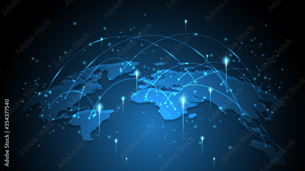Fototapeta Global network connection World map abstract technology background global business innovation concept