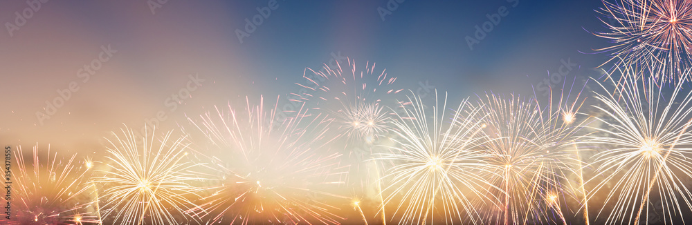 Fototapeta Celebration colorful firework on pattern on sky background concept for USA 4th july independence day, symbol of patriot freedom festive,Abstract happy new year 2021 with copy space for display