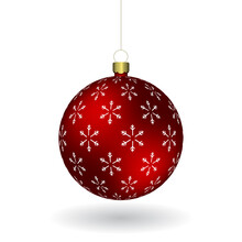 Red Christmass Ball With Snowflakes Print Hanging On A Golden Chain