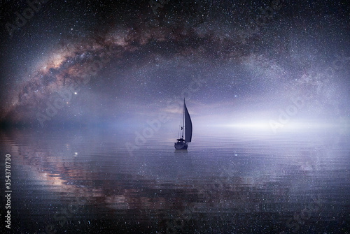 Photo lone sailing luxur yacht under starry night with milkyway galaxy