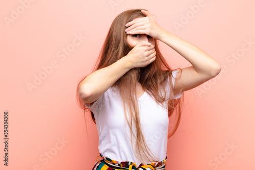 yound blonde woman covering face with both hands saying no to the camera! refusi Tapéta, Fotótapéta