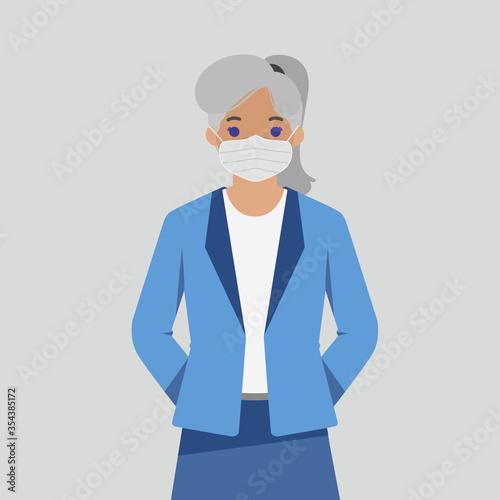 Obraz Girl in a sterile medical mask - Vector - fototapety do salonu