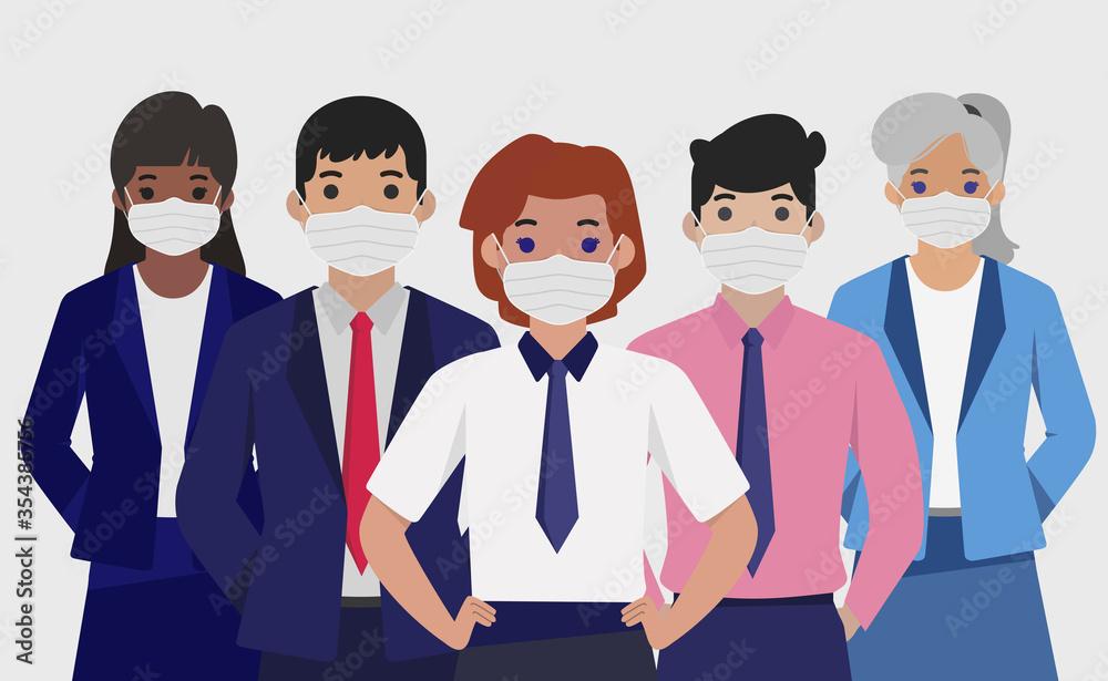 Fototapeta Group of people in sterile medical masks - Vector