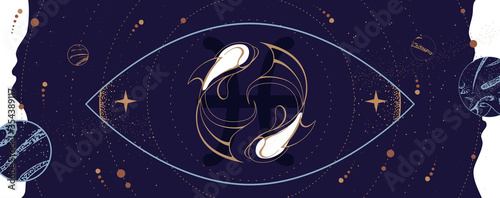 Modern magic witchcraft card with astrology Pisces zodiac sign Wallpaper Mural