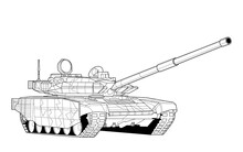 Adult Line Art Military Tank Coloring Page For Book And Drawing. War Modern Panzer. Vector Illustration. Vehicle. Graphic Element. Black Contour Sketch Illustrate Isolated On White Background