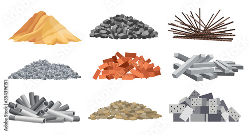 Set of heaps building material Canvas Print