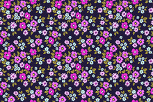 Simple Cute Pattern In Small Pink And Purple Flowers On Dark Violet Background. Liberty Style. Ditsy Print. Floral Seamless Background. The Elegant The Template For Fashion Prints.