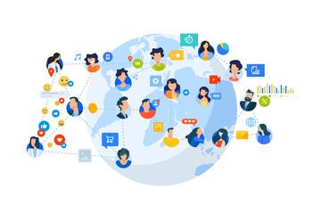 Flat design style illustration of social network, internet community. Vector concept for website banner, marketing material, business presentation, online advertising.