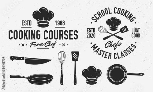 Papel de parede Vintage Cooking logo with cooking utensils