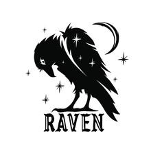 Dark Raven Silhouette Icon. Bl...