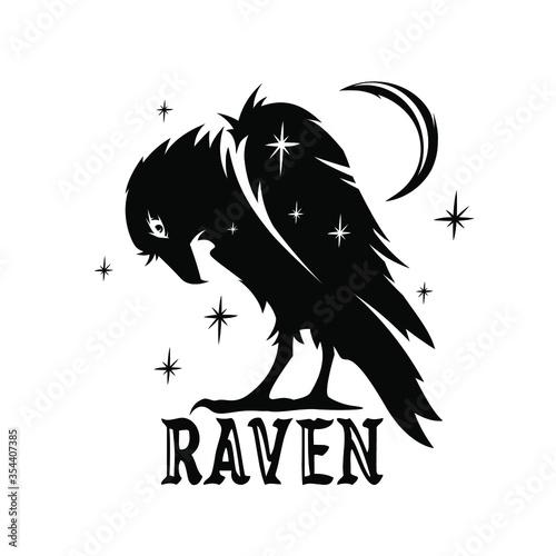 Vászonkép Dark raven silhouette icon