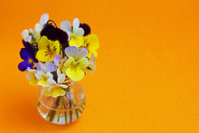 A Bouquet Of Pansies In A Mini...