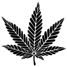 Cannabis Pflanze Gezeichnet Pe...