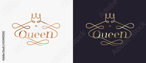 Photo Typography luxury golden queen concept logo design vecter