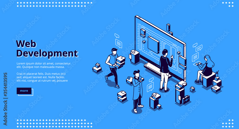 Fototapeta Web development isometric landing page. Programmers coding website cross platform, adaptive layout, internet page interface on computer and mobile phone screen, site creation 3d vector line art banner