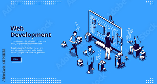 Fototapeta Web development isometric landing page. Programmers coding website cross platform, adaptive layout, internet page interface on computer and mobile phone screen, site creation 3d vector line art banner obraz