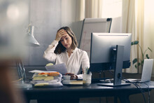 Very Stressed Business Woman S...