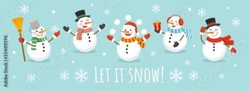 Obraz na plátně Let it snow card with cute character snowman vector illustration