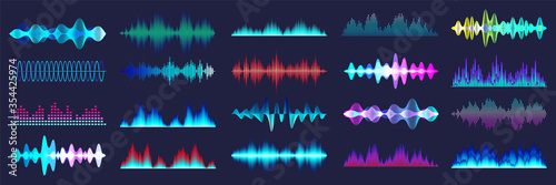 Photo Colored sound waves collection