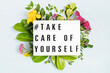 canvas print picture - Lightbox with motivation words for self care, positive thinking, mental health, emotional wellness