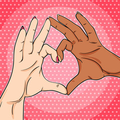 Black and white hands showing heart sign pop art illustration in retro comics style, love have no color and black lives matter concept art