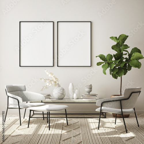 Fototapeta mock up poster frame in modern interior background, living room, Scandinavian style, 3D render, 3D illustration obraz
