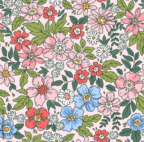Fotografie, Tablou Elegant floral pattern in small hand draw flowers