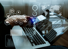 Concept Of Digital Diagram, Graph Interfaces Icons, Virtual Screen, Connections Icon On Blurred Background. Business People Hands Working With Startup Project  Network Online.