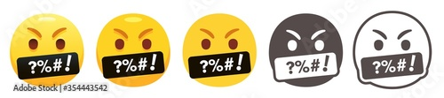 Cursing emoji. Angry yellow face with grawlixes symbols on mouth. Swearing or vulgar word on black bar. Rage emoticon flat vector icon set