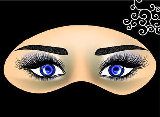 Close-up portrait of a girl in a hijab. Beautiful expressive eyes. Woman of the East. Vector illustration in a realistic style