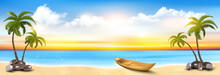 Summer Vacation Panorama. Tropical Beach With A Palm Tree, Blue Sea And A Pleasure Boat. Vector.