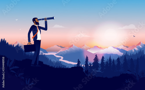 Fototapeta Ethnic businessman looking for opportunities - Man looking into binoculars in beautiful landscape looking for new business, recruiting and searching. Minority career success concept. Vector. obraz