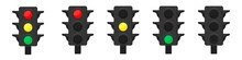 Three Sets Of LED Traffic Lights Showing Red, Amber Or Green Lights.