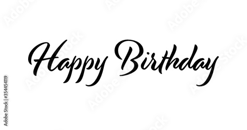 Happy Birthday Script Text on a White Background