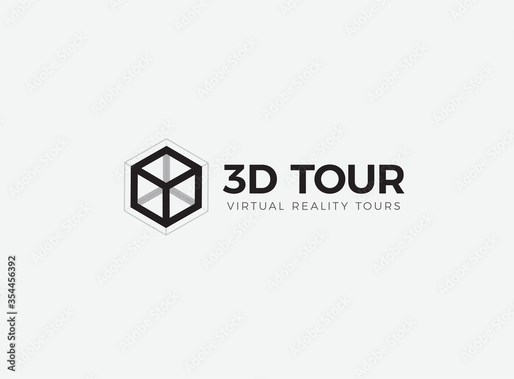 Fototapeta 3D room,house,flat,apartment tour logo. VR vision attraction emblem. Virtual reality journey, landscape panoramic view icon. Isolated interior visualization vector illustration
