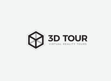 3D Room,house,flat,apartment Tour Logo. VR Vision Attraction Emblem. Virtual Reality Journey, Landscape Panoramic View Icon. Isolated Interior Visualization Vector Illustration