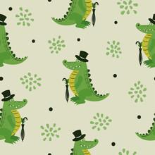 Seamless Cartoon Crocodile Pattern. Baby Print, Kids Design.