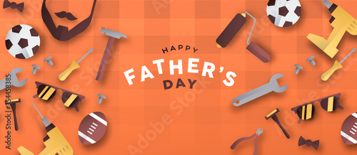 Obraz Happy Father's Day 3D paper cut dad icon banner - fototapety do salonu
