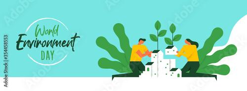 Obraz Environment Day banner of social green community - fototapety do salonu