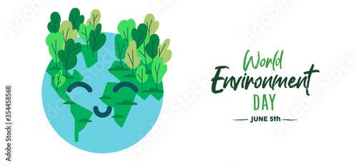 Obraz World environment day card of happy green earth - fototapety do salonu