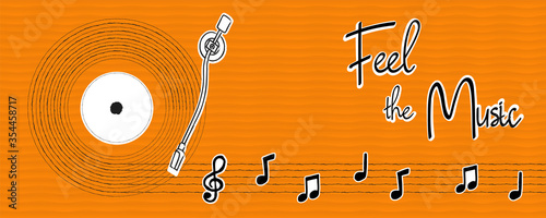 Obraz Feel the music hand drawn musical note banner - fototapety do salonu