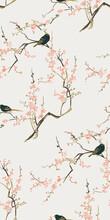 Sakura Bird Flower Vector Japa...