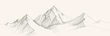 Mountains Range Sketch, Engrav...