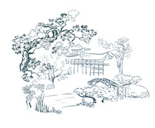 House Gardem Card Nature Landscape View Landscape Card Vector Sketch Illustration Japanese Chinese Oriental Line Art
