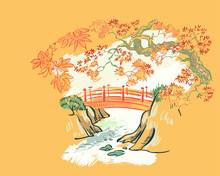 Bridge Maple Autumn Card Nature Landscape View Landscape Card Vector Sketch Illustration Japanese Chinese Oriental Line Art